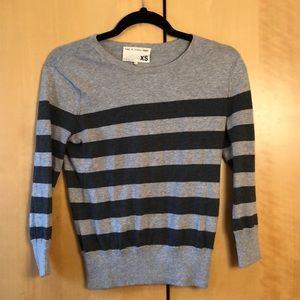Rag & Bone grey striped knit sweater size xs